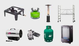 Allerlei - camping vuurtje, terrasverwarmer, stellingen, veiligheidskledij, gasflessen, gaskachels, ...